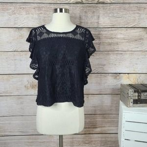 Jack by BB Dakota Black Lace Dori Top